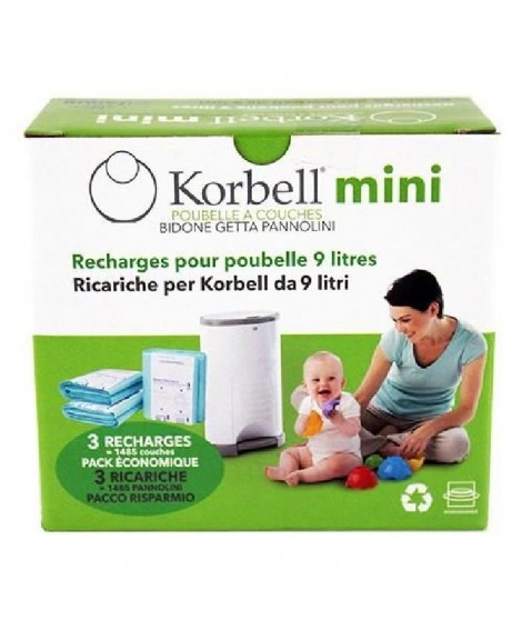 KORBELL Recharge 3 pack pour poubelle 9L