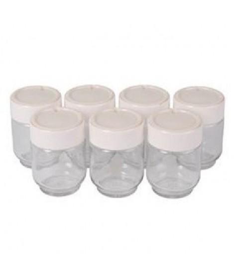 MOULINEX A14A03  -  7 pots verre couvercle blanc avec dateur pour yaourtieres Yogurta & Yogurteo