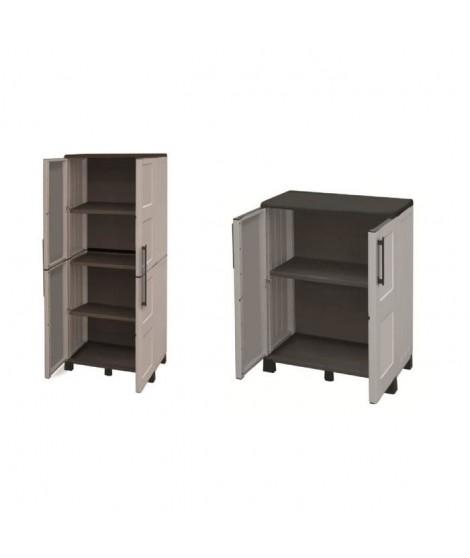 SOGENEX Lot de 2 armoires haute et basse de rangement en résine