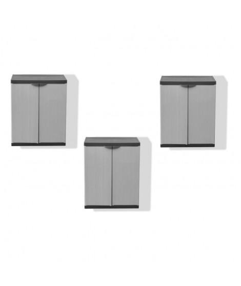 SOGENEX Lot de 3 armoires basses de rangement 1 tablette en résine