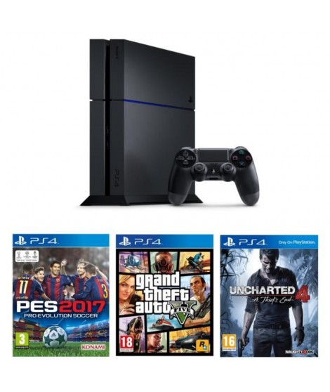 PS4 500 Go Noire + 3 Jeux : GTA V + Uncharted 4 : A Thief's End + PES 2017