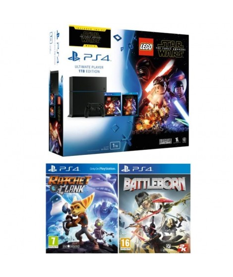 PS4 1 To + 3 Jeux : Lego Star Wars: Le Réveil de la Force + Ratchet and Clank + Battleborn + Star Wars VII Blu Ray