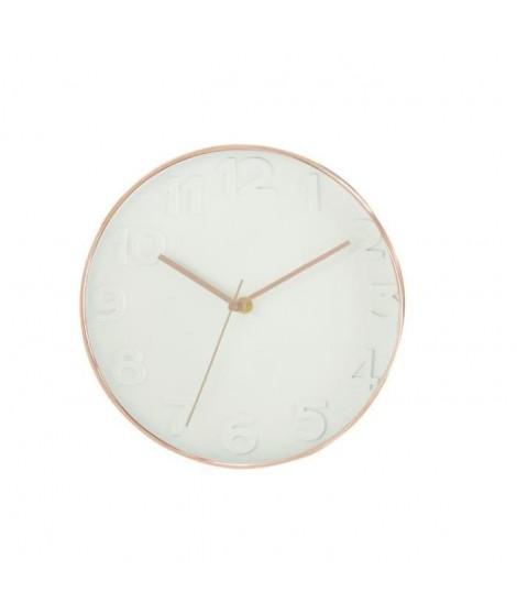Horloge murale ronde diametre 30,5 cm blanc et cuivré