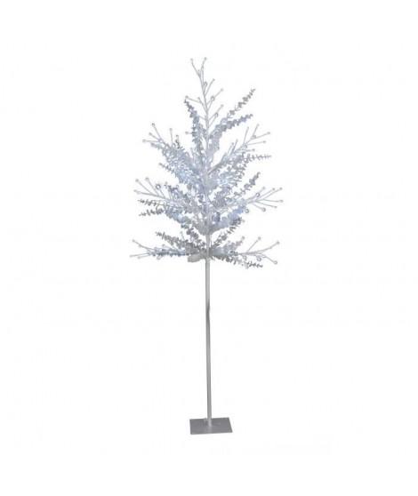 Arbre de Noël Scintillant feuilles rondes 200 LED hauteur 1,8 m blanc