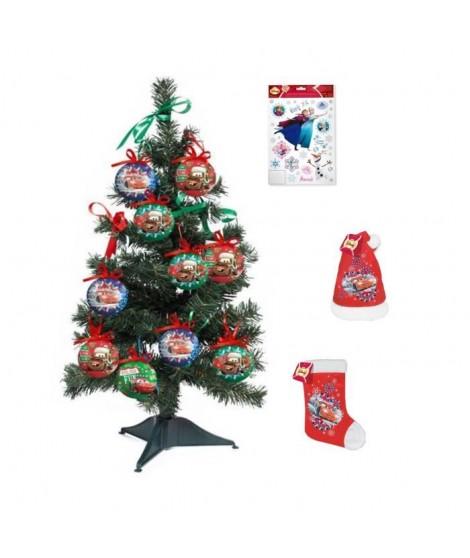 CARS Arbre de Noël 55x18 cm vert + Chaussette et bonnet velours 39 cm rouge + FROZEN Stickers 30x20 cm blanc