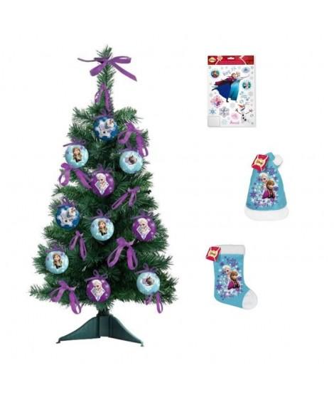 LA REINE DES NEIGES Arbre de Noël 55x18 cm vert + Chaussette et bonnet velours 39 cm bleu + Stickers 30x20 cm blanc