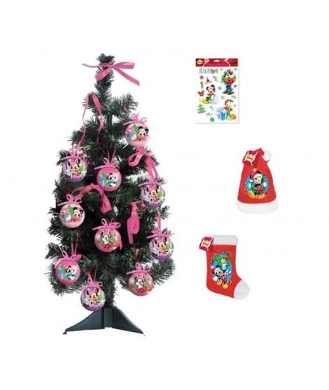 MICKEY Arbre de Noël 55x18 cm vert + Stickers 30x20 cm blanc + Chaussette et bonnet velours 39 cm rouge