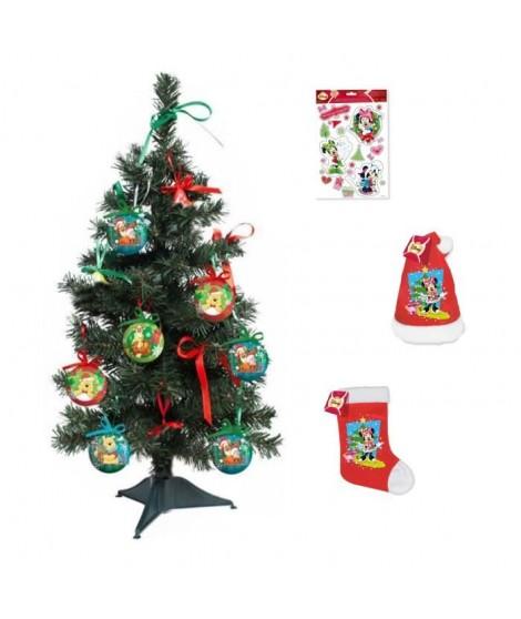 MINNIE Arbre de Noël 55x18 cm vert + Stickers 30x20 cm blanc + Chaussette et bonnet velours 39 cm rouge