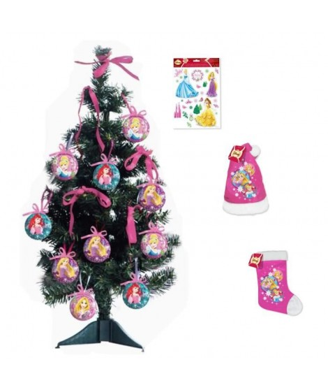 PRINCESSE Arbre de Noël avec déco 55x18 cm vert + Stickers 30x20 cm blanc + Chaussette 39 cm et Bonnet 39 cm rose