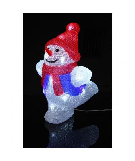 CODICO Bonhomme de neige 20 LED hauteur 25,5 cm rouge, noir et blanc
