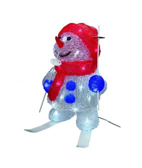 CODICO Bonhomme de neige lumineux 30 LED 30x16 cm blanc et rouge