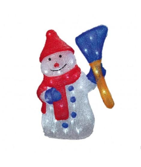 CODICO Bonhomme de neige lumineux 50 LED 43x29 cm blanc, rouge et bleu