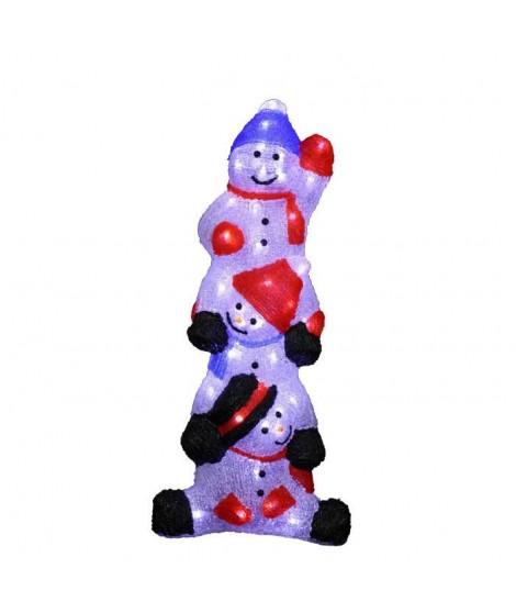 CODICO Bonhomme de neige colonne lumineux 60 LED 58 cm blanc