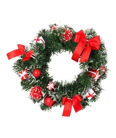 CODICO Couronne de noël décors boîtes-cadeaux et noeuds diametre 30 cm blanche et rouge