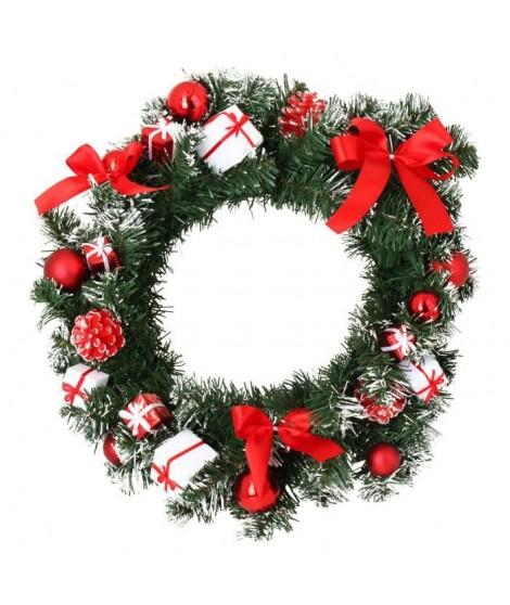 CODICO Couronne de noël décors boîtes-cadeaux et noeuds diametre 40 cm blanche et rouge