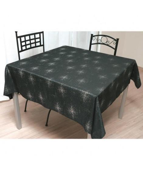SOLEIL D'OCRE Nappe de table carrée Strass 180x180 cm noir