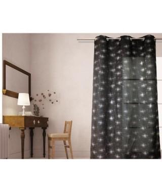 SOLEIL D'OCRE Rideau a oeillets Strass 140x240 cm noir