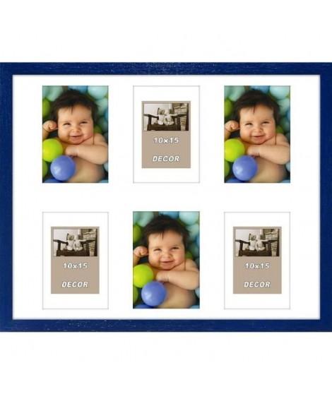 ERIKA Cadre photos pele-mele 6 vues 40x50 cm Bleu
