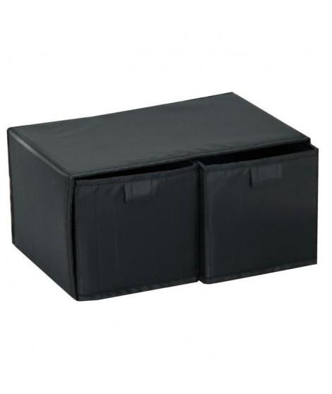 Boite rangement 2 tiroirs noir
