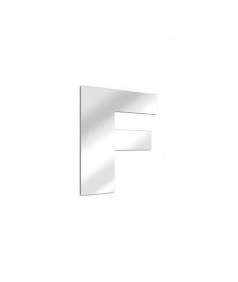 TEND'ME Lettre miroir F Arial en verre acrylique 8 cm argent