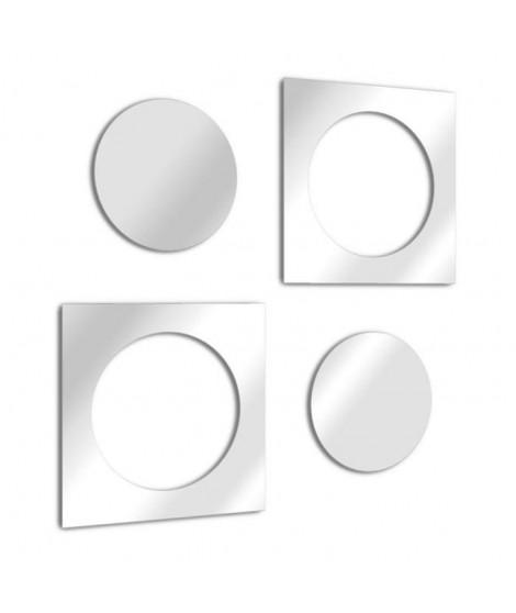 TEND'ME Miroir design rond et carré imbriqué en double en verre acrylique 53x27 cm argent
