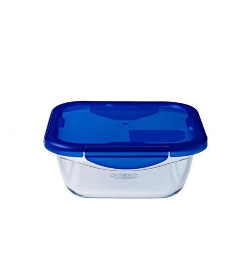 PYREX COOK&GO Plat de conservation carré 0,8l 16cm + Couvercle bleu