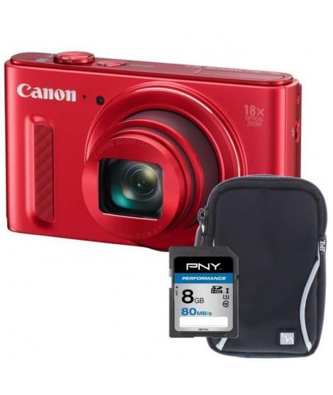CANON POWERSHOT SX610 HS Appareil photo numérique Compact - CMOS 20 Mpix - Rouge + Carte 8Go + Etui