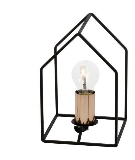 """BRILLANT Lampe a poser style """"maison"""" Home E27 60W noir et cuivre"""
