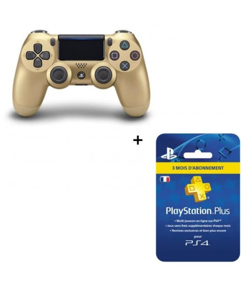 Manette DualShock 4 Gold V2 + Abonnement PlayStation Plus 3 mois
