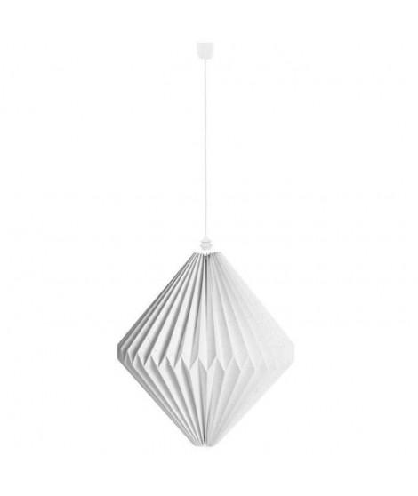 SEMA Suspension en papier ajouré origami Triga 40x40x40 cm blanc avec cordon électrique blanc