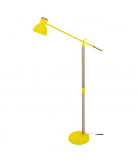 Lampadaire liseuse articulée bois massif et métal Olsen E27 diametre 80 cm jaune