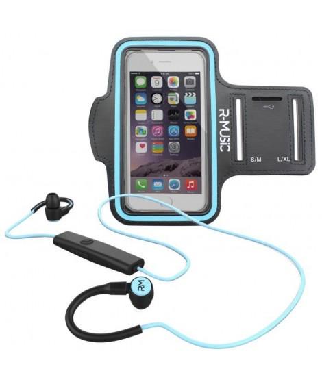 Pack R-MUSIC R-FLEX RUNNING KIT Ecouteurs intra-auriculaires sans fil Bluetooth - Noir/Bleu + ENDURANCE Brassard Sport universel
