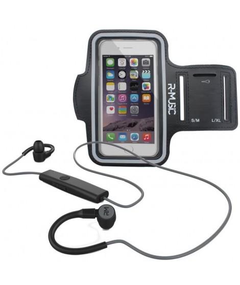 Pack R-MUSIC R-FLEX RUNNING KIT Ecouteurs intra-auriculaires sans fil Bluetooth - Noir/Gris + ENDURANCE Brassard Sport universel