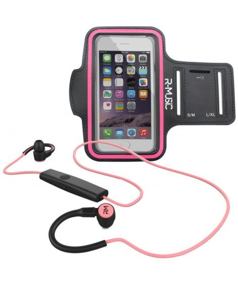 Pack R-MUSIC R-FLEX RUNNING KIT Ecouteurs intra-auriculaires sans fil Bluetooth - Noir/Rose + ENDURANCE Brassard Sport universel