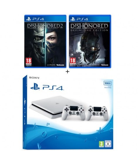 Nouvelle PS4 Slim Glacier White 500 Go + 2e Manette Glacier White + 2 jeux : Dishonored 2 + Dishonored Definitive Edition (DLC)