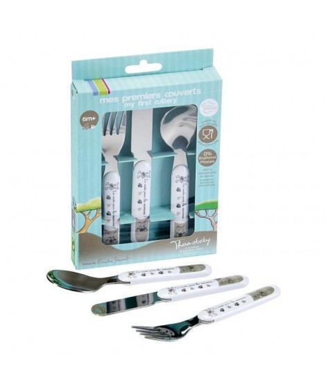 """THERMOBABY Coffret """"Mes Premiers Couverts"""" Set Fourchette Couteau Cuillere Inox Savane"""