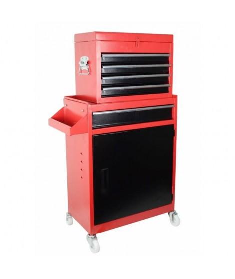 Servante d'atelier 5 tiroirs vide en métal - 2 parties avec 5 tiroirs, 1 caisson et 1 étagere