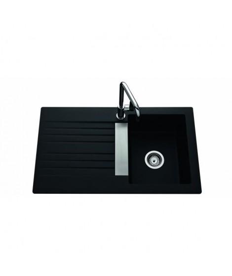 EWI Evier Soledad 86x50cm 1 bac 1 égouttoir noir