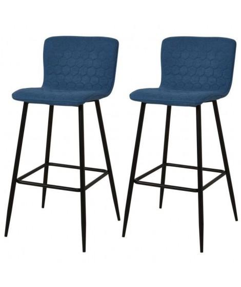 VEGAS Lot de 2 tabourets de bar pieds métal noir - Revetement tissu bleu - Style contemporain - L46 x P46 cm