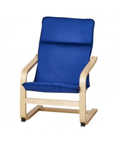 Fauteuil de relaxation enfant en métal noir et pieds bouleau massif - Tissu bleu - Contemporain - L 44 x P 47 cm