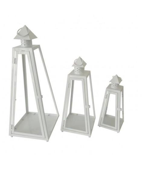 HOMEA Set de 3 lanternes pyramide en métal H30-40-55cm blanc