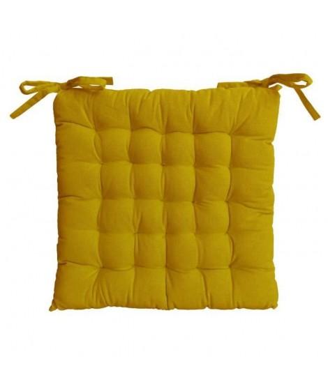 Galette de chaise 25 points 40x40x4cm moutarde