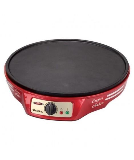 Ariete - Crépiere électrique Rouge 1000W avec thermostat + 2 spatules en bois offertes