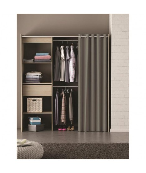 CHICAGO Kit dressing extensible contemporain chene brossé + rideau en coton basalte - L 114-168 cm
