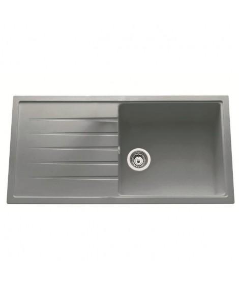 EWI Evier Granit Topaze 1 grand bac 1 égouttoir 100x50 cm granit gris
