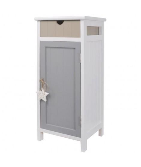 STAR Meuble de rangement salle de bain en bois Paulownia et MDF L 28 cm - Blanc - Beige et gris
