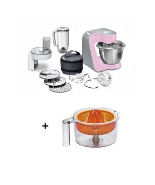 Pack BOSCH MUM : Robot pâtissier MUM58K20 Rose + Presse-agrumes MUZ5ZP1