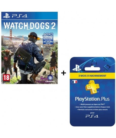 Watch Dogs 2 + Abonnement PlayStation Plus 3 mois