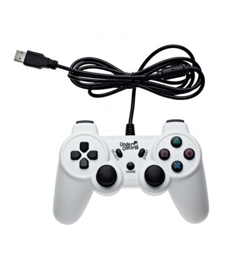 UNDER CONTROL Manette Filaire Blanche PS3 - 1,8M