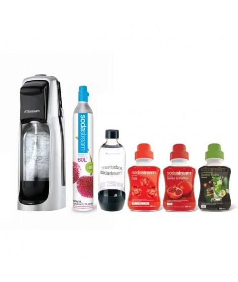 SODASTREAM MÉGA PACK Machine a soda Jet Silver + 3 concentrés + 1 bouteille + 1 cylindre